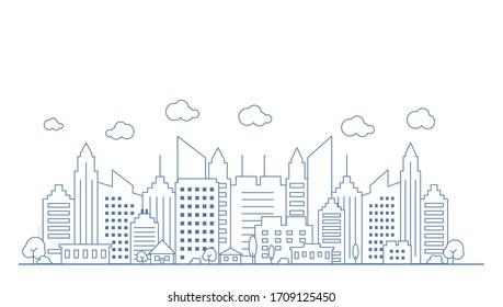 Vue panoramique sur la ville de style linéaire mince. Décrire le paysage urbain. Illustration Vectorielle de Stock