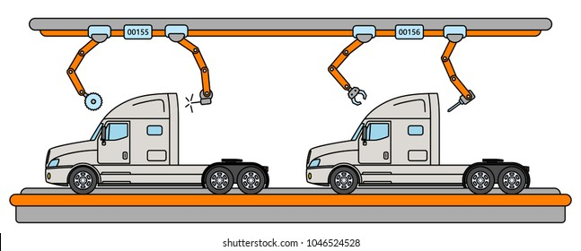 Thin line style truck assembly line. Automatic transport production conveyor. Robotic truck machinery industry concept. Vector illustration.