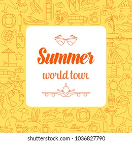 Thin Line Style Vector Summer Illustration with travel icons.Outline flat design banner for travel web page, holiday trip planning, tour organization. Summer time colored poster. Editable stroke.