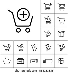 thin line supermarket trolley add icon on white background, online shopping set