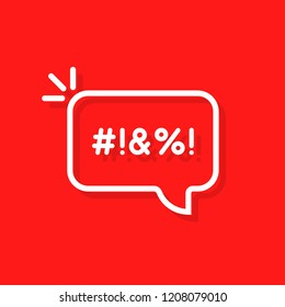 thin line swearing speech bubble. concept of explicitives like abstract sign eg hashtag and aggressive disagreement. flat stroke trendy modern lineart logotype art graphic design isolated on red