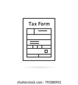 thin line tax form icon with shadow. concept of taxation overview reminder file or risk monitoring in tax collect. flat contour trend modern vat logotype stroke graphic design illustration on white