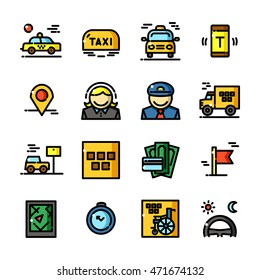 Thin line Taxi icons set, Transportation by car outline logos vector illustration