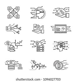 Thin line Technology new trend icon sets. Vector illustation design symbol concept.
