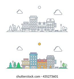 thin line town landscape concept. linear cityscape with buildings and trees. small town street scene with store, hotel, bank. flat outline style. isolated on white background. vector illustration