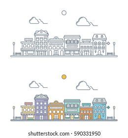 thin line town landscape. linear cityscape. small town street scene with store, hotel, pizzeria, boutique, coffee shop, pharmacy. flat outline style. isolated on white background. vector illustration