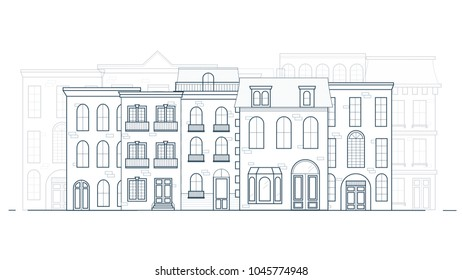 Thin line traditional old europe house skyline vector. Classic historic european townhouse buildings street in lineart.