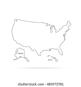 thin line usa map with other territories and shadow. concept of mapping, hand drawn decoration, trip, education, federal. flat style trend modern vector illustration on white background
