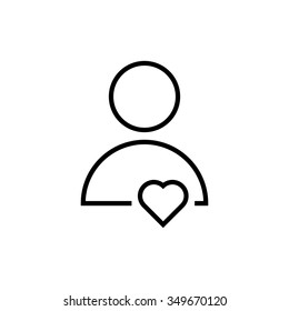thin line user icon with heart. concept of friendly, assistance, teamwork, consultant, gift, confession, avatar. isolated on white background. linear style trend modern logo design vector illustration