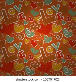 Thin Line Valentine Day seamless pattern in white, orange and red Colors. Vector Website Design and seamless pattern in Trendy Modern Line Style. Love Wedding, Love Text, Hearts.