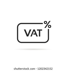 thin line vat tax percent icon. flat linear style trend modern logotype graphic art design element isolated on white background. concept of value added tax