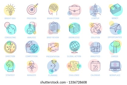 Thin line vector business process icon set. Flat design organization, management and marketing strategy  symbols collection  on white background. Lines only, easy to edit line weight.