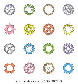 Thin line vector cog wheels and gears collection