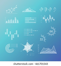 Thin line vector graphs, charts and diagrams with flat elements. Outline diagram, graphs and charts in linear style, infographic for business presentation illustration