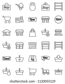 thin line vector icon set - office vector, cargo, warehouse, weight, shelving, new, open, closed, shopping bag, market, store, mall, buy, basket, cart, scales
