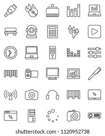 thin line vector icon set - pen vector, laptop graph, clock, barcode, music hit, camera, equalizer, headphones, notebook pc, play button, hdmi, browser, lan connector, bench, loading, route arrow