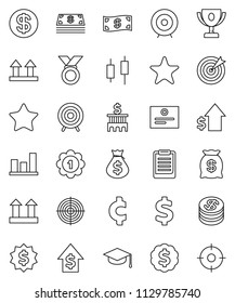 thin line vector icon set - graduate hat vector, clipboard, award cup, certificate, graph, japanese candle, money bag, dollar growth, bank building, target, medal, cent sign, top, favorites, coin