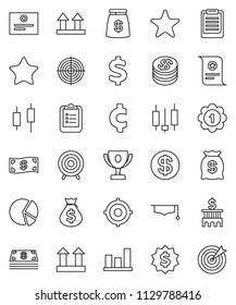 thin line vector icon set - graduate hat vector, clipboard, award cup, certificate, graph, pie, japanese candle, money bag, bank building, target, dollar medal, cent sign, top, favorites, coin, cash