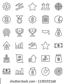 thin line vector icon set - graduate hat vector, clipboard, award cup, certificate, graph, pie, money bag, dollar growth, bank building, medal, target, stairways run, top sign, favorites, coin, cash