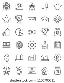 thin line vector icon set - graduate hat vector, clipboard, award cup, certificate, graph, pie, japanese candle, dollar growth, bank building, target, medal, cent sign, stairways run, top, favorites