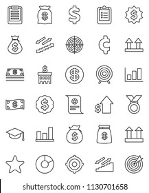 thin line vector icon set - graduate hat vector, clipboard, certificate, graph, pie, money bag, dollar growth, bank building, target, medal, cent sign, stairways run, top, favorites, coin, cash
