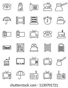 thin line vector icon set - washboard vector, kettle, hand mill, turk coffee, alarm clock, abacus, phone, umbrella, film frame, radio, tv, classic, closed, video camera, sewing machine