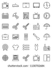 thin line vector icon set - spatula vector, scissors, abacus, case, clock, calendar, snickers, shorts, swimsuite, t shirt, target, umbrella, radio, satellitie, tv, menu, computer, window