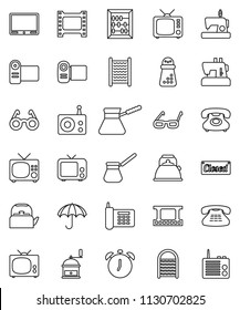 thin line vector icon set - washboard vector, kettle, hand mill, turk coffee, glasses, alarm clock, abacus, phone, umbrella, film frame, radio, tv, classic, closed, video camera, sewing machine