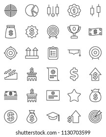 thin line vector icon set - graduate hat vector, clipboard, award cup, certificate, pie graph, japanese candle, money bag, dollar growth, bank building, target, medal, sign, stairways run, top, coin
