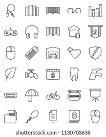 thin line vector icon set - water tap vector, presentation, leaf, annual report, dollar flag, calendar, bike, jump rope, document, umbrella, protected, barcode, equalizer, headphones, hdmi, sperm