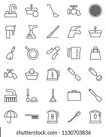 thin line vector icon set - plunger vector, broom, water tap, fetlock, car, toilet brush, pan, kettle, measuring cup, spatula, ladle, sieve, case, hand trainer, umbrella, scalpel, supply, basket