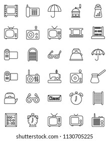 thin line vector icon set - washboard vector, kettle, hand mill, turk coffee, glasses, alarm clock, abacus, phone, umbrella, film frame, radio, tv, closed, video camera, sewing machine