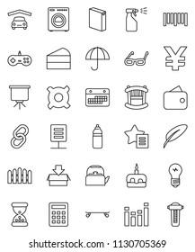 thin line vector icon set - washing powder vector, sprayer, kettle, cake, pen, glasses, presentation, any currency, yen sign, skateboard, water bottle, calendar, umbrella, barcode, equalizer, link