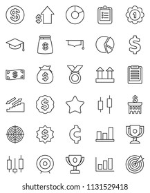 thin line vector icon set - graduate hat vector, clipboard, award cup, graph, pie, japanese candle, money bag, dollar growth, bank building, target, medal, cent sign, stairways run, top, favorites