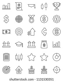 thin line vector icon set - graduate hat vector, clipboard, award cup, certificate, graph, pie, japanese candle, dollar growth, bank building, target, medal, cent sign, top, favorites, coin, cash