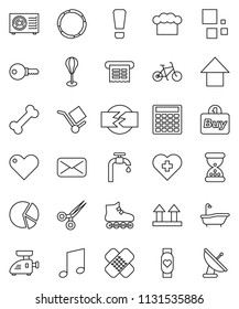 thin line vector icon set - bath vector, cook hat, music, pie graph, calculator, arrow up, bike, punching bag, roller Skates, heart monitor, cross, bone, hoop, cargo, top sign, mail, scissors, patch