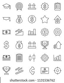 thin line vector icon set - graduate hat vector, clipboard, award cup, certificate, graph, japanese candle, money bag, dollar growth, target, medal, cent sign, stairways run, top, favorites, cash