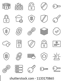 thin line vector icon set - certificate vector, dollar shield, protected, link, cloud, big data, server, firewall, chain, key, siren, lock, unlock, smart home, protect, password