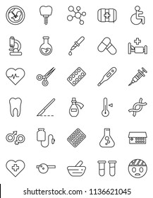 thin line vector icon set - thermometer vector, flask, heart pulse, pills, molecule, cross, first aid kit, disabled, vial, gender sign, dna, pregnancy, syringe, dropper, scissors, scalpel, blister