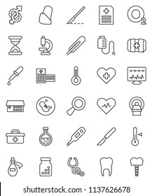 thin line vector icon set - thermometer vector, first aid kit, oxygen, doctor bag, heart pulse, cross, flask, gender sign, magnifier, pregnancy, dropper, scalpel, sand clock, stethoscope, microscope