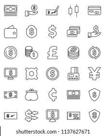 thin line vector icon set - exchange vector, dollar coin, japanese candle, credit card, cash, investment, stack, check, shield, monitor, any currency, pound, yen sign, cent, money, wallet