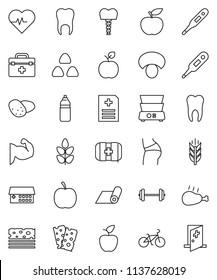 thin line vector icon set - double boiler vector, cereal, mushroom, potato, chicken leg, apple fruit, diet, barbell, heart pulse, bike, muscule hand, buttocks, water bottle, fitness mat, cereals