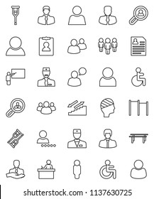 thin line vector icon set - blackboard vector, student, manager, man, personal information, horizontal bar, stairways run, client, speaking, group, disabled, doctor, crutches, head bandage, user