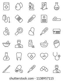 thin line vector icon set - flask vector, pills vial, disabled, heart pulse, cross, doctor, thermometer, magnifier, scalpel, patch, stethoscope, bottle, mortar, eye hat, microscope, blood drop, head