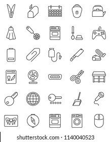 thin line vector icon set - scoop vector, clothespin, towel, toilet brush, washer, kettle, skimmer, knife, oven, compass, scissors, calendar, battery, hdmi, drop counter, globe, attachment, key, fan