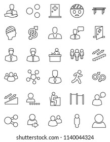 thin line vector icon set - student vector, manager, man, horizontal bar, stairways run, client, speaking, social media, group, gender sign, head bandage, medical room, share, login, consumer