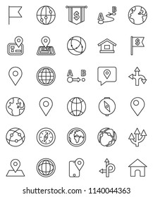 thin line vector icon set - compass vector, world, flag, dollar, route, navigator, earth, map pin, traking, internet, connection, globe, arrow, home