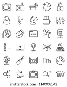 thin line vector icon set - toaster vector, thermometer, table lamp, magnet, world, molecule, navigator, earth, sorting, satellite antenna, radio, settings, tv, notebook pc, social media, jack, fan