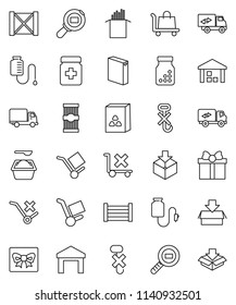 thin line vector icon set - washing powder vector, cereal, pasta, delivery, wood box, cargo, no trolley, hook, warehouse, package, search, pills bottle, drop counter, relocation truck, gift
