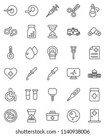 thin line vector icon set - school building vector, doctor bag, disabled, heart cross, thermometer, vial, gender sign, insemination, syringe, dropper, crutches, scissors, sand clock, pills, bottle
